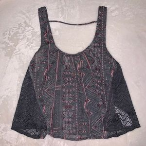 Sheer aztec design tank top with low back
